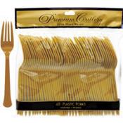Gold Premium Plastic Forks 48ct
