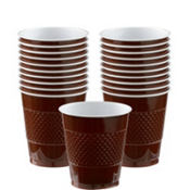 Chocolate Brown Plastic Cups 20ct