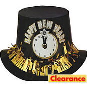 Clock New Years Top Hat 5in