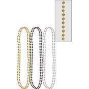 Silver, Black and Gold Metallic Bead Necklaces 32in 6ct
