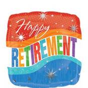 Foil Square Happy Retirement Balloon 18in
