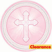 Pink Radiant Cross Religious Lunch Plates 8ct