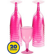 Transparent Pink Plastic Wine Glasses 8oz 20ct