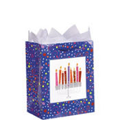 Playful Menorah Small Hanukkah Gift Bag 5 1/2in x 4 1/2in