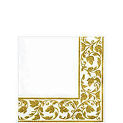 Premium White Gold Scroll Beverage Napkins 24ct