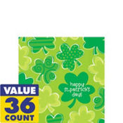 Playful Shamrocks St. Patricks Day Beverage Napkins 36ct