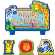 Jungle Animals Birthday Candles 4ct
