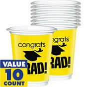 Yellow Congrats Grad Plastic Graduation Cups 12oz 10ct