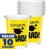 Yellow Congrats Grad Plastic Graduation Cups 12oz 10ct