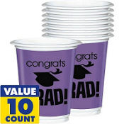 Purple Congrats Grad Plastic Graduation Cups 12oz 10ct