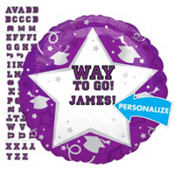 Foil Purple Personalized Graduation Balloon 22in