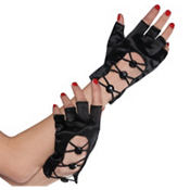 Black Fingerless Short Gloves
