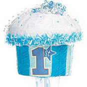 Pull String Blue 1st Birthday Cupcake Pinata
