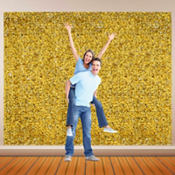 Gold Metallic Floral Sheeting 15ft
