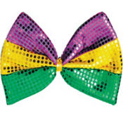 Giant Sequined Mardi Gras Bow Tie
