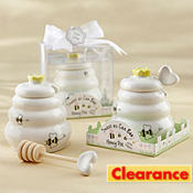 Sweet As Can Be Ceramic Honey Pot with Wooden Dipper Baby Shower Favor