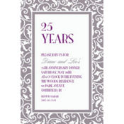 Silver Ornamental Scroll Custom Invitation