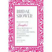 Bright Pink Ornamental Scroll Custom Invitation