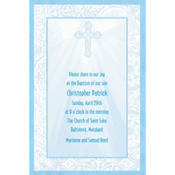Custom Blue Radiant Cross Religious Invitation