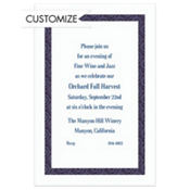 Navy Moroccan Border/White Custom Invitation