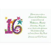 Colorful 16 Custom Invitation