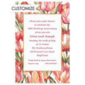 Red Parrot Tulips Custom Invitation