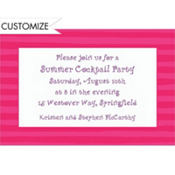 Pink Beach Stripe Custom Invitation