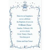 Christening Suit with Blue Ribbon Custom Invitation