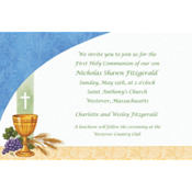 Chalice with Blue Pattern Custom Invitation