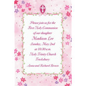 Cross with Pink Buds Custom Invitation