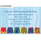 Pool Party Swim Trunks Custom Invitation