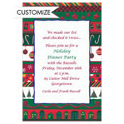 Whimsical Christmas Stripes Custom Invitation