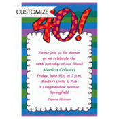 Big 40 Border Custom Invitation