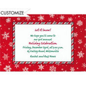 Red & White Snowflakes Custom Invitation