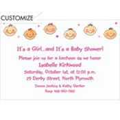 Baby Girl Heads Custom Baby Shower Invitation