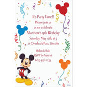 Mickey and Party Balloons Custom Invitation
