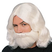 White Biblical Wig & Beard Set
