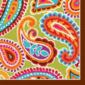 Bright Paisley Beverage Napkin 16ct