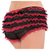 Adult Black and Red Lace Ruffle Panty