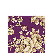 Chrome Botanical Plum Beverage Napkins 16ct