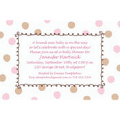 Pink Dots Border Custom Baby Shower Invitation