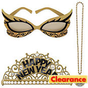 Black and Gold New Years Costume Set 5pc