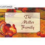 Festive Turkey Custom Thank You Note