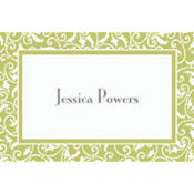 Leaf Green Ornamental Scroll Custom Thank You Note