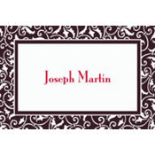 Black Ornamental Scroll Custom Thank You Note
