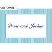 Ice Blue Triple Stripe Custom Thank You Note