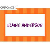 Cantaloupe Awning Stripe Custom Thank You Note