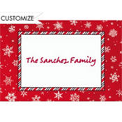 Red & White Snowflakes Custom Thank You Note
