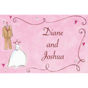 Bride & Groom with Swirls Custom Wedding Thank You Note