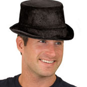 Black Velour Top Hat 5 1/8in x 10in